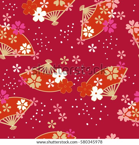 Seamless pattern of Oriental traditional Illustration, Folding fan and cherry blossoms