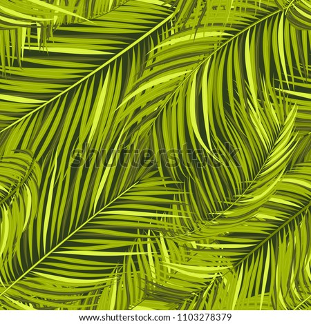 Seamless Pattern of Palm Leaves. Trendy Vector Tropical Background. Realistic Exotic Jungle Foliage in Modern Style. Tropic Seamless Pattern for Print, Paper, Fabric, Textile, Wallpaper, Wrapping.