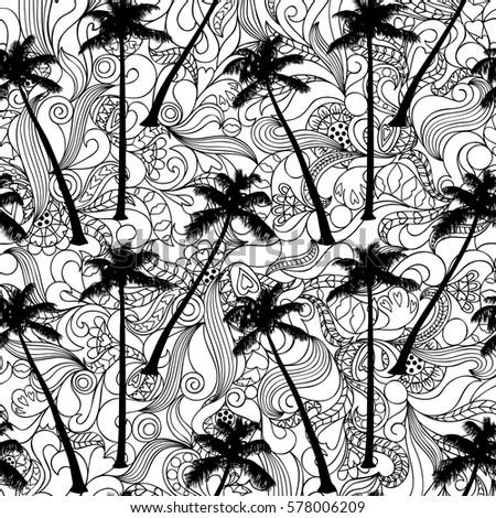 seamless pattern of palm
