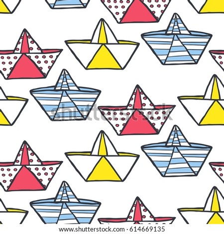 Seamless pattern of paper boats. Design for backdrops with sea, rivers texture. Image for a poster or cover. Vector illustration. Repeating texture. Figure for textiles.