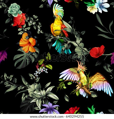 seamless pattern of parrots