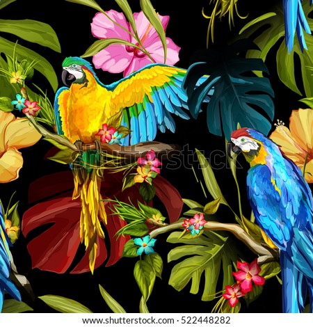 seamless pattern of parrots on