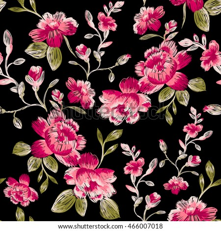 Seamless pattern of peonies on a black background. Imitation embroidery.