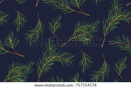 Seamless pattern of Pine Christmas spruce, new year tree natural branch, green leaf, hand drawn botanical print. Vector, seasonal wallpaper, winter background, textile fabric, texture design on blue