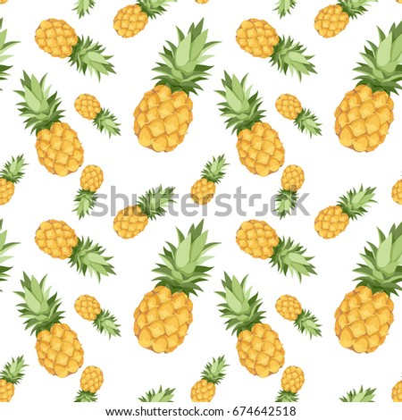 Seamless pattern of pineapples with white background.
