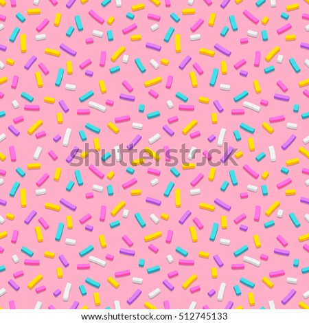Seamless pattern of pink donut glaze with many decorative sprinkles. Easy to change colors. Pattern design for banner, poster, flyer, card, postcard, cover, brochure.