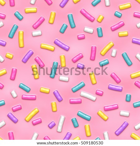 Seamless pattern of pink donut glaze with many decorative sprinkles. Vector background made with gradient meshes. Background design for banner, poster, flyer, card, postcard, cover, brochure.