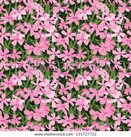 Seamless pattern of pink small flowers. Flower glade. Vector illustration.