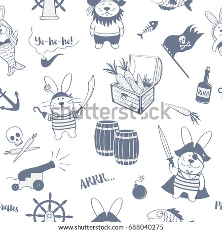 seamless pattern of pirates