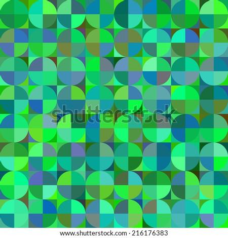 Seamless pattern of quartered circles over quartered squares