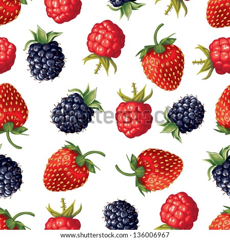 Seamless pattern of realistic image of delicious ripe berries