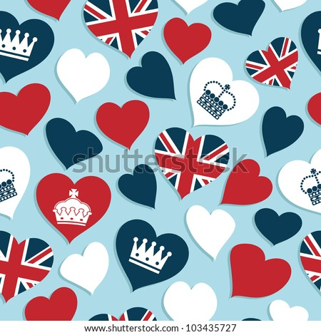 seamless pattern of red, white and blue union jack and crown hearts, with clipping path
