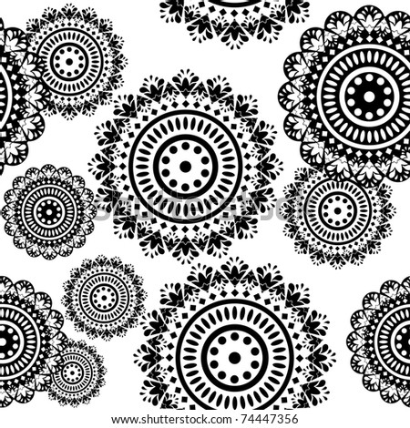 seamless pattern of round black and white ornaments