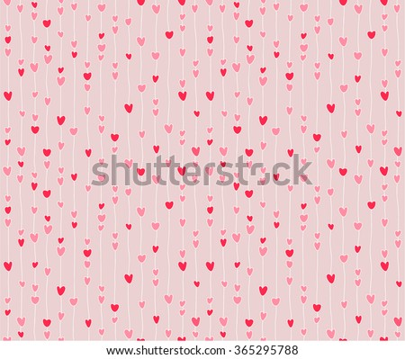 Seamless pattern of stylized hearts on threads