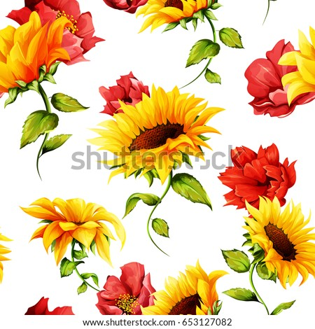seamless pattern of sunflowers