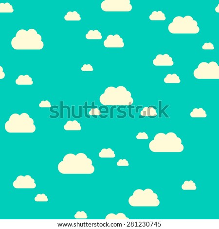 Seamless pattern of sunlit clouds on turquoise blue sky. EPS 10 vector illustration, no transparency