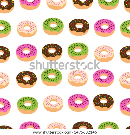 Seamless Pattern of sweet donuts with various cream flavors on a white background. sweet donuts with various cream flavors Pattern Vector. Illustration Art