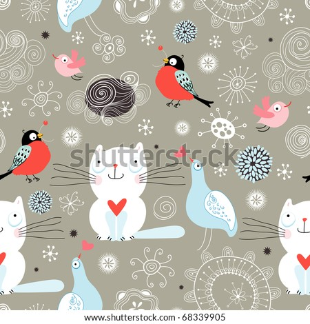 Seamless pattern of the cats and birds