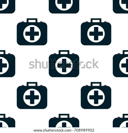 seamless pattern of the first aid kit isolated on white background. Flat design Vector Illustration