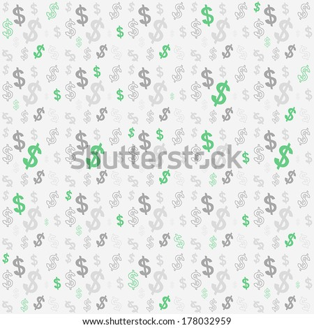 Seamless pattern of the symbols of dollar currency.