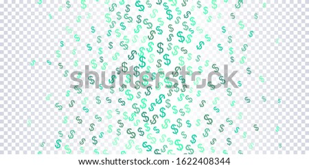 Seamless Pattern of the symbols of dollar currency. Green on a transparent background vector background with signs of dollars. The pattern can be used for your ad, poster, banner of USD money. Vector