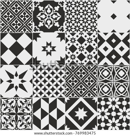 Seamless pattern of tiles. Vintage decorative design elements. Islam, Arabic, Indian, ottoman, patchwork handdrawn motifs. Perfect for printing on fabric or paper. White and black colors