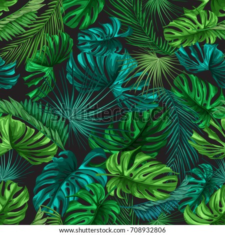 Seamless pattern of tropical leaves. Green palm leaves on the black background. Vector seamless pattern. Tropical exotic illustration. Jungle foliage.