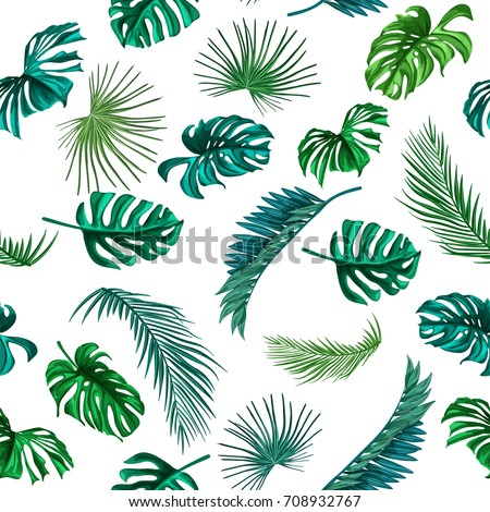 Seamless pattern of tropical leaves. Green palm leaves on the white background. Vector seamless pattern. Tropical exotic isolated illustration. Jungle foliage.