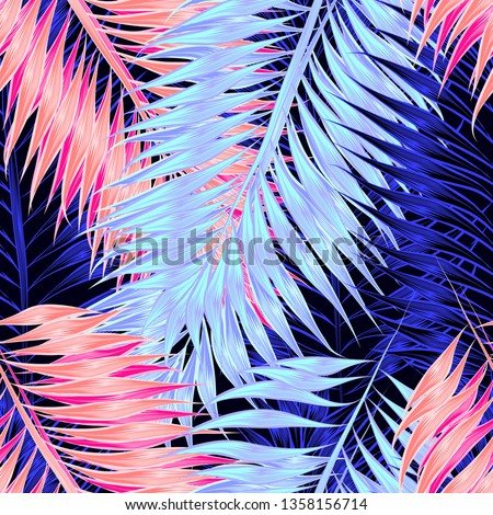 Seamless pattern of tropical leaves of palm tree #1358156714