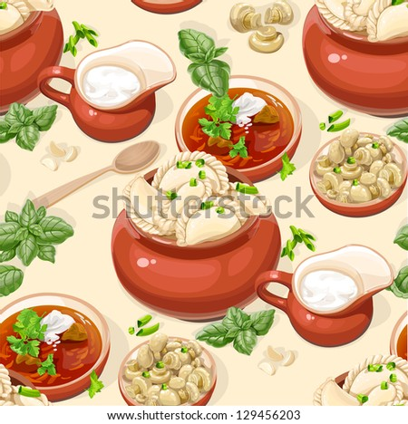 Seamless pattern of Ukrainian traditional red borscht with sour cream and dumplings