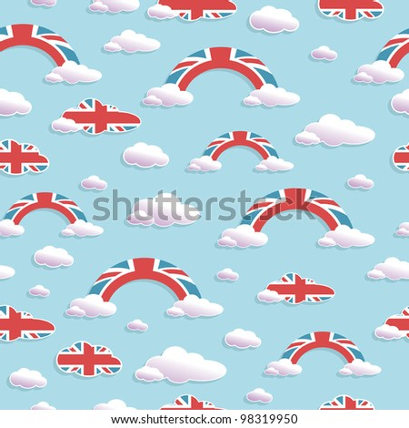 seamless pattern of union jack clouds and rainbows, with clipping path
