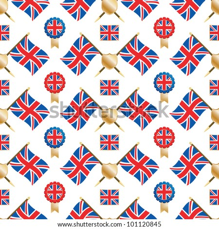 seamless pattern of union jack flags and emblems, with clipping path