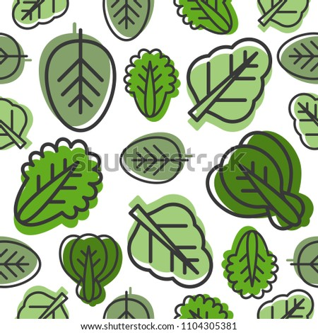 Seamless pattern of Vegetable leaves such as kale, spinach, lettuce outline and green shadow