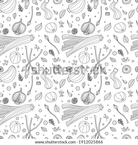 Seamless pattern of vegetables vector illustration in scandinavian style. Linear graphic. Vegetables background. Healthy food isolated on white background.