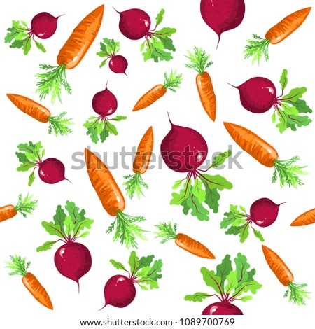 Seamless pattern of vegetables with carrots and beets. Vector illustration