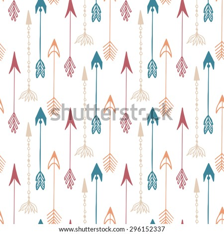 Seamless pattern of vintage arrow. Hand drawn arrows texture for textile, print, web, wrapping. Vector background
