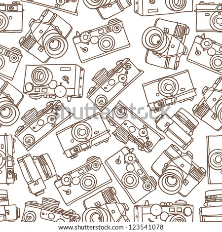 seamless pattern of vintage cameras