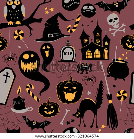 Seamless pattern Of Vintage Happy Halloween flat  icons. Halloween Scrapbook Elements. Vector illustration. Cute Halloween Characters.