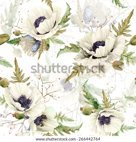 Seamless pattern of watercolor poppies. Vector illustration of white flowers on white background. Vintage. Can be used for gift wrapping paper, background of Valentine\'s day, birthday and so on.