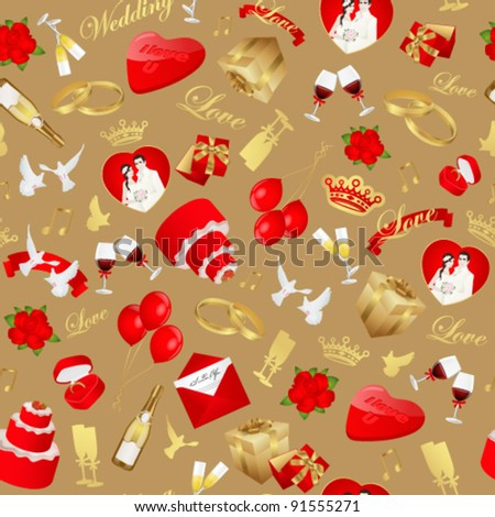 Seamless pattern of wedding day. Useful for wedding gift paper. Vector illustration in gold and red colors