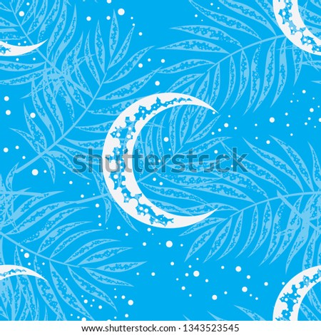 stock-vector-seamless-pattern-of-white-moon-and-light-blue-tropical-tree-branches-on-a-bright-blue-background