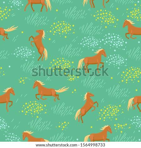 seamless pattern of wild horses