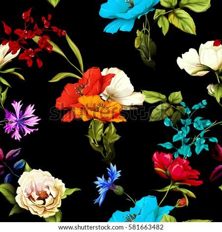 seamless pattern of wild rose