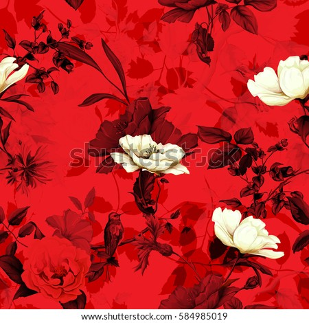 seamless pattern of wild rose