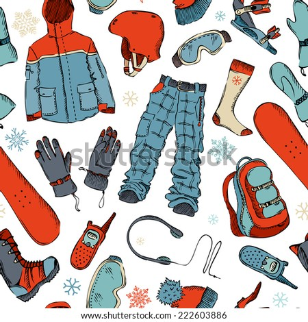 Seamless pattern of winter extreme sport. Snowboard gear on white background. Winter active outdoor design.