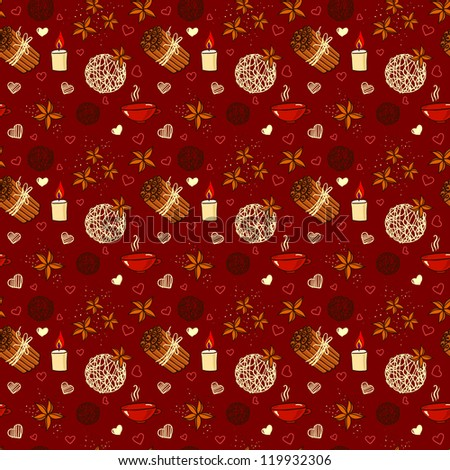 Seamless pattern of winter spices