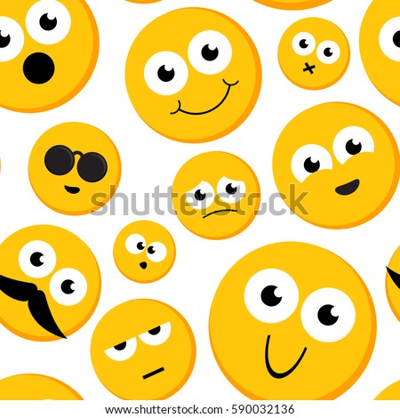 Seamless pattern of yellow round emoticons.