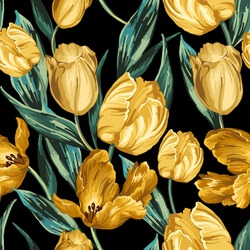 Seamless pattern of yellow tulips on a black background.