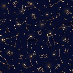 Seamless pattern of zodiac signs. Vector illustration. Twelve constellations, gold stars on night sky map background. Leo, Scorpio, Gemini, Pisces, Aquarius and Sagittarius linear symbols in space.