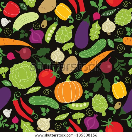 seamless pattern on a black background vegetables illustrations